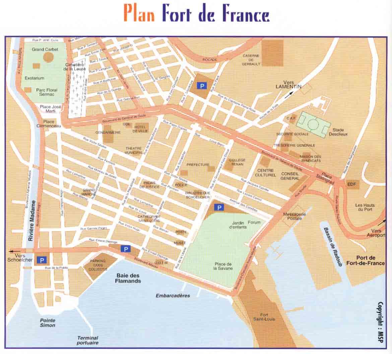 plan de la ville de fort de france